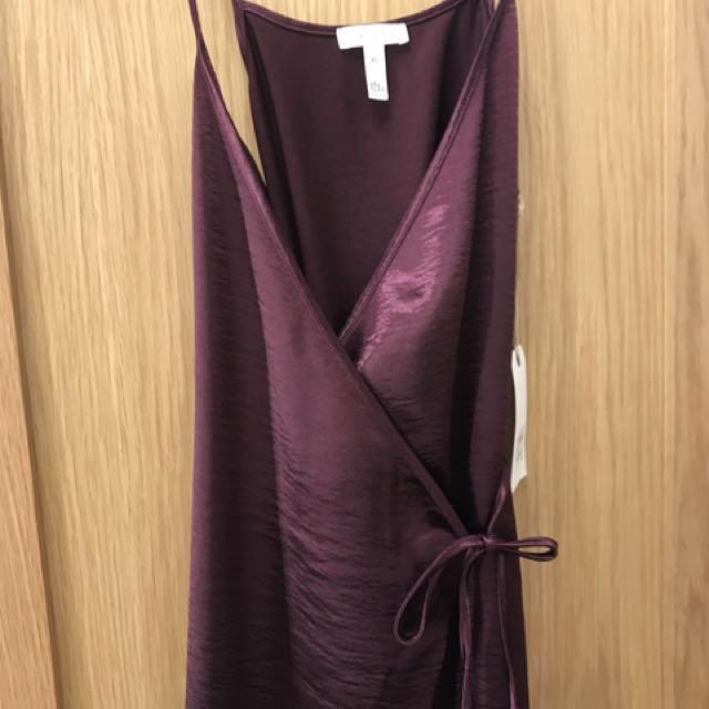 wine silk dress