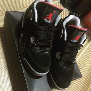 Nike Air Jordan 4 RETRO Shoes Men\'s Anti Fur Black Grey Red ...