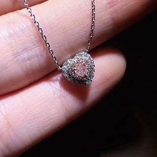 18K750 White Gold Pink and White Diamond Pendant With Gold Chain      PD~0.125cts      D~0.149cts                            18K750 白金天然粉紅鑽石吊咀及項錬