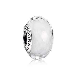 Pandora White Faceted Murano Charm