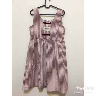 全新 紅白線條娃娃背心洋裝 背心裙