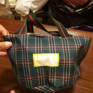 格子可愛餐具袋