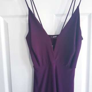 Plum Crisscross Deep-V Dress