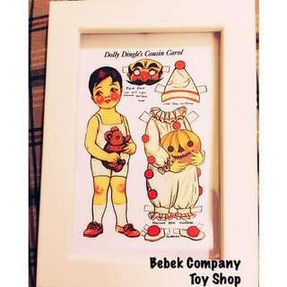 90s American retro dolly dingle dolls 復古 紙娃娃 娃娃 小動物 相紙 收藏 古董