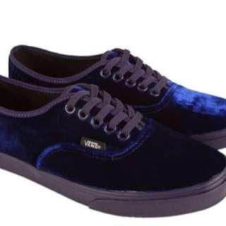 Blue Velvet Vans Size 7 Women's