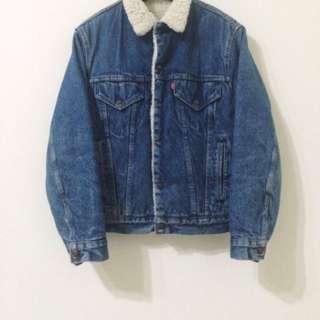 古著 Vintage 80's Levi's Levis 舖棉 牛仔外套 單寧刷毛夾克 美國製