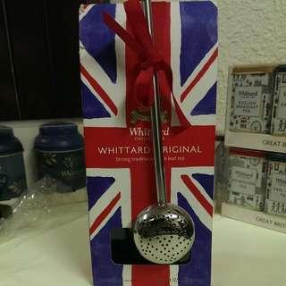 全新@英國whittard皇室御用原味茶葉+造型優雅不繡鋼濾茶匙-外出露營攜帶方便-英國製