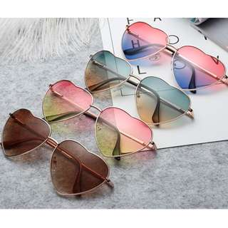 Vintage Heart Shaped Sunglasses Shades - Ombre Color Lens