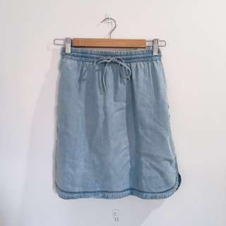 Denim look high waisted skirt