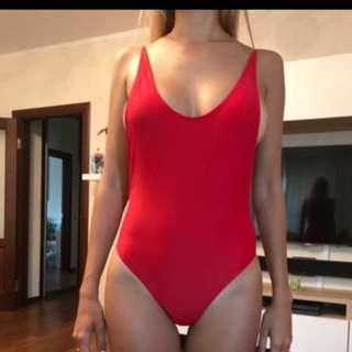 Red swimsuit one piece