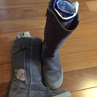GEOX Girl's Gray Suede Leather Winter Boots Size 1