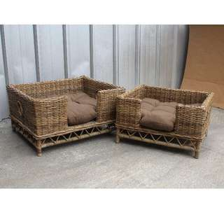 (CLEARANCE SALES!!!)BN DOG/CAT BED RATTAN WITH REMOVABLE FABRIC CUSHION