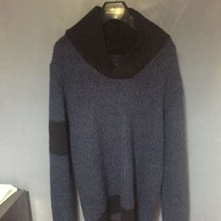Mens Cowl Neck Knitted Sweater Size S