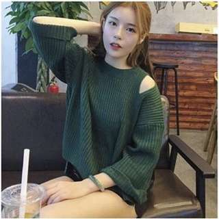 Green Oversized Knitted Cold Shoulder Top