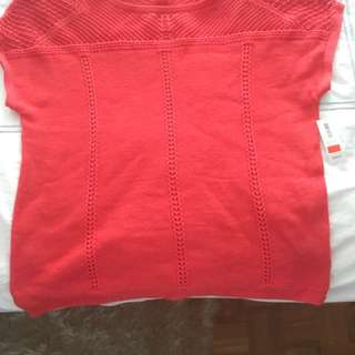 New with Tags Coral Red Crochet Knit Top Sz. Small