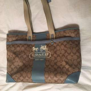 COACH Heritage BABY DIAPER BAG W/Coach Change Pad!