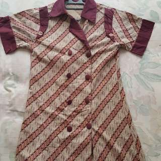 Dress Batik merah maroon (size S/M)