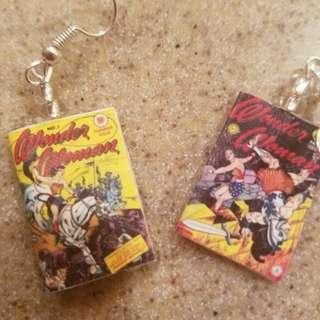 Wonder Woman Comic Book Earrings