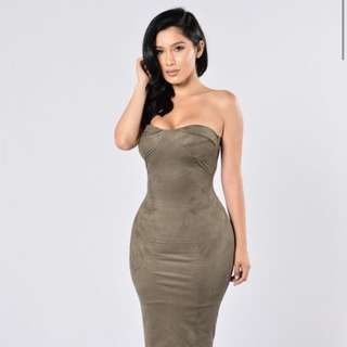 Fashion Nova Olive Green Suede Strapless Dress