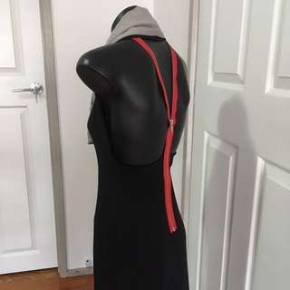 Dizingof Black Exposed Back Dress Size S