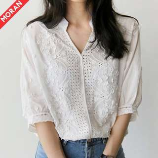 White Floral Detail Bell Sleeve Top