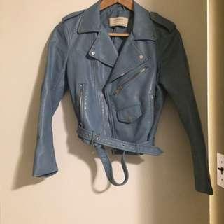 Zara Baby Blue Leather Jacket