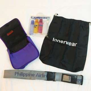 Lot of Travel Essentials - toiletry bag, luggage strap, laundry bag, travel bottle set