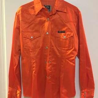 Vintage Orange Metallic Colour Blouse
