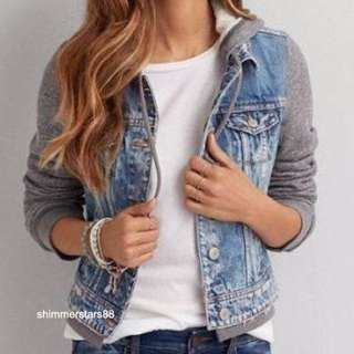 American Eagle Outtfitters Denim Hoodie Jacket