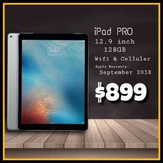 iPAD PRO 12.9 in 128GB Wifi & CellularApple warranty till Sept 18