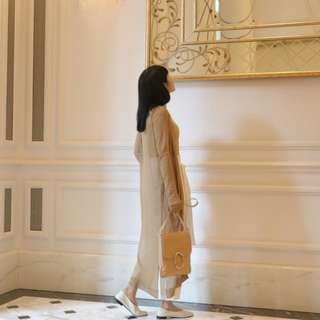 🚚 #nude 芥黃薄針織長版外套