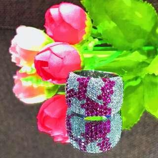 18K白金粉紅藍寶鑽石戒指/18K Gold Pink Shappire Diamond Ring