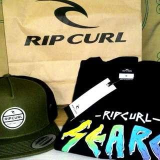 Topi Dan Kaos Rip Curl Original Baru Belum Dipake. (boleh Nego Tipis)