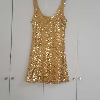 SOIREE GOLD SEQUINED DRESS/ LONG TOP SIZE MEDIUM
