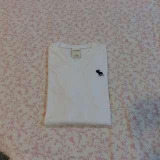 Abercrombie & Fitch A&F V領白色短袖上衣 保證正品 Kid L