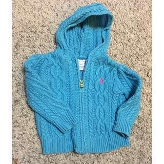 Ralph Lauren Hooded Knit Zip up cardigan - 9 months - Girls