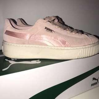 Pink Puma Suede Platform Sneaker