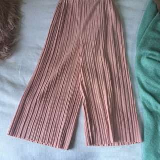 Pink pleat culottes