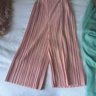 Pink pleat culottes