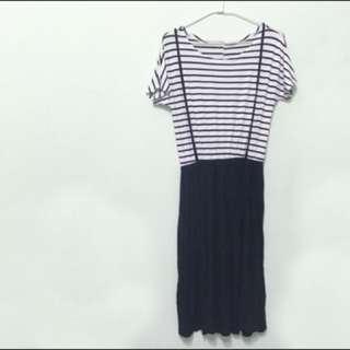 條紋吊帶裙