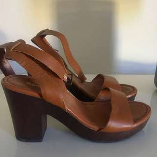 SANDLER Leather Block Heel Sandals Size 7