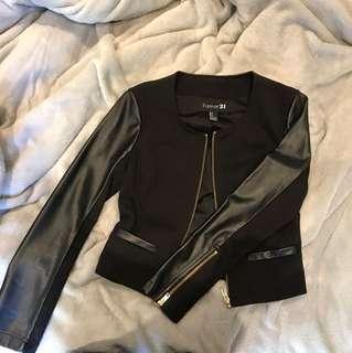 Faux leather sleeve black jacket