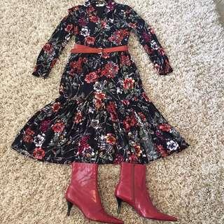 Pretty Spring Floral Dress Size8