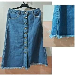 Buttondown Midi Denim Skirt