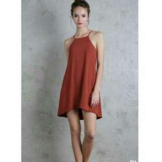 TTR lovina lace up dress in burnt orange
