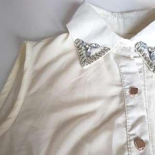 Beige collared shirt