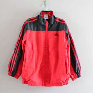 Adidas red and navy windbreaker