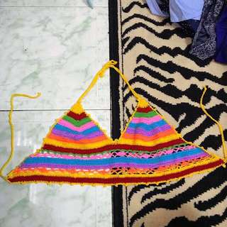Colorful retro hippie psychedelic backless crochet crop top