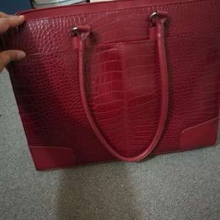 Faux leather cherry red laptop bag