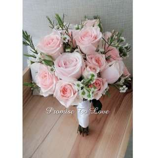 Fresh pink roses & mixed flowers rustic bridal bouquet (Wedding / ROM/ Bridesmaid / Proposal/ Anniversary / Engagement )